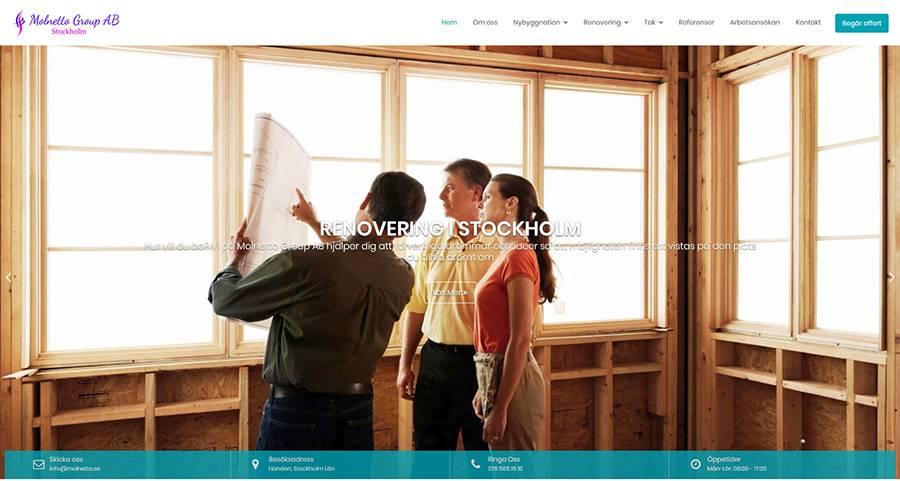 hemsida för byggföretag
